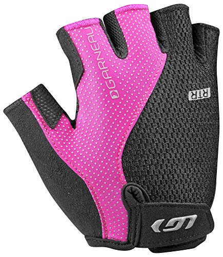 Louis Garneau Women's Air Gel + RTR Padded, Breathable, Half Finger Bike Gloves, Black/Pink, Medium - Louis Womens Glove