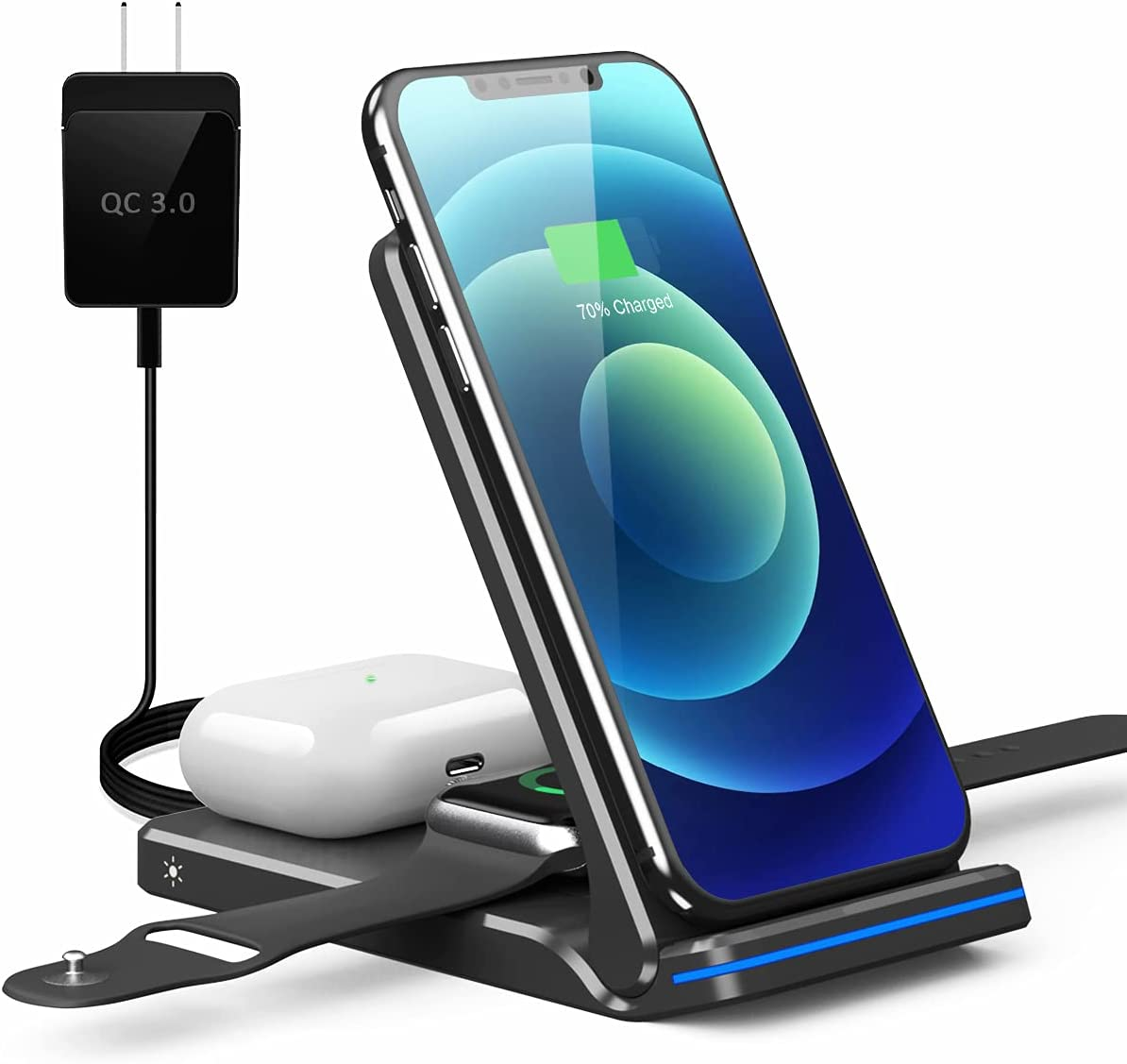 Wireless Charging Station, 3 in 1 Foldable Fast Charging Station, Wireless Charger Stand for iPhone 12/12 Pro/Mini/11/11 Pro Max/XR/X/Xs/8 Series,AirPods,iWatch,Samsung Phones(Wireless Charger, Black)