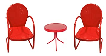 3 Piece Red Retro Metal Tulip Chairs And Side Table Outdoor Set