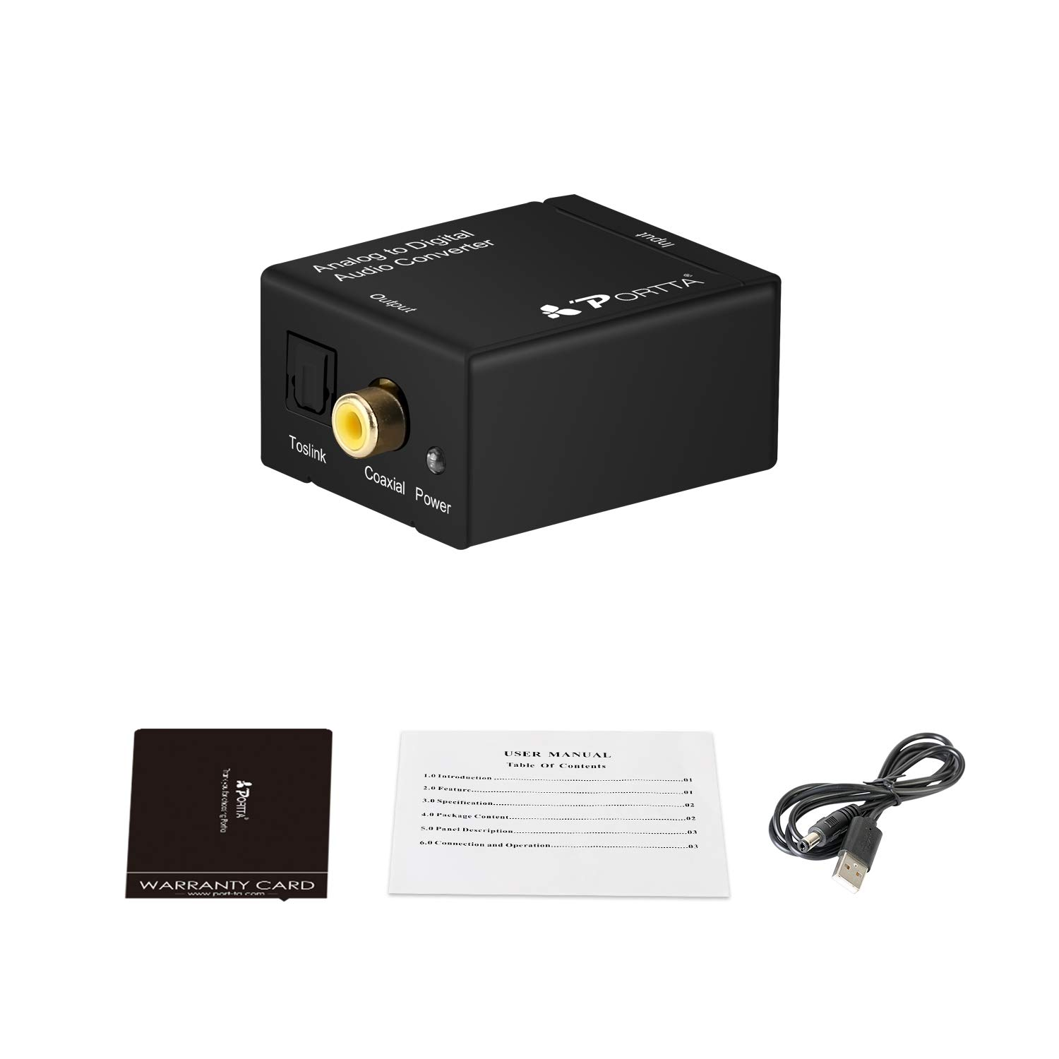 Amazon.com: Portta Audio Converter Analog R/L RCA to Digital Coax/ Toslink  Audio Converter Support 2 channel Stereo LPCM CH2.0 without Decode Function  for ...
