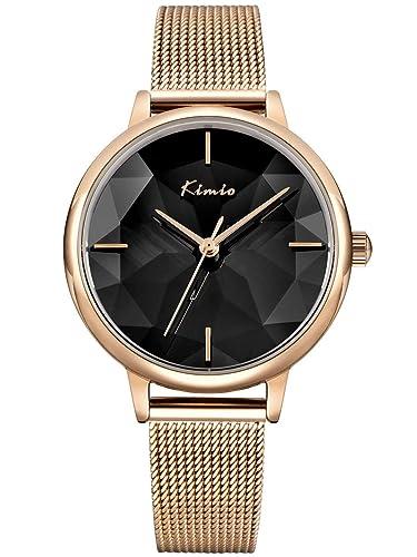 Alienwork Reloj Mujer Relojes Acero Inoxidable Oro Rosa Analógicos Cuarzo Negro Impermeable Clásico Elegante: Amazon.es: Relojes