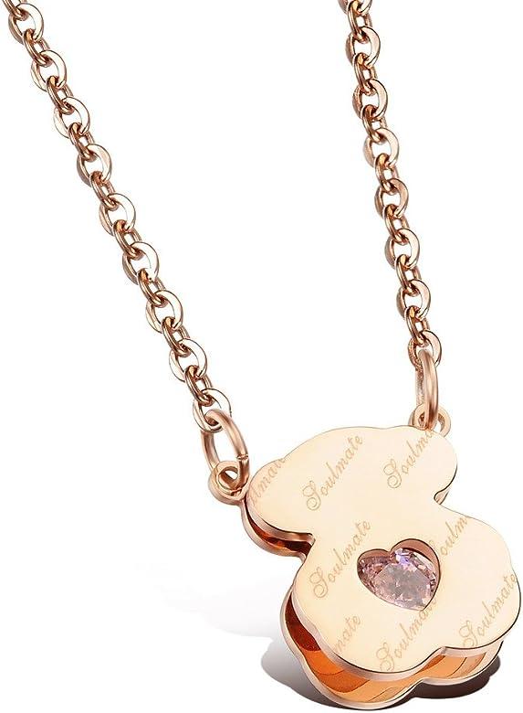 bigsoho joyas acero inoxidable Corazón Cristal circonitas ...
