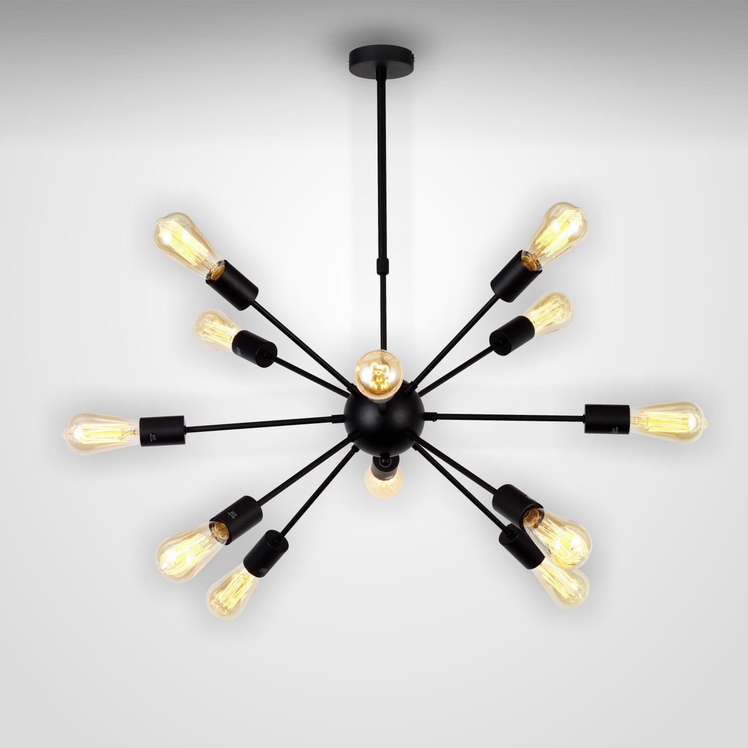 Chandelier Black  12 Lights Modern Lighting Industrial Pendant Semi Flush  Mount