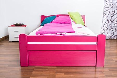 Madera cama 120 x 200 cm haya maciza color rosa con somier ...