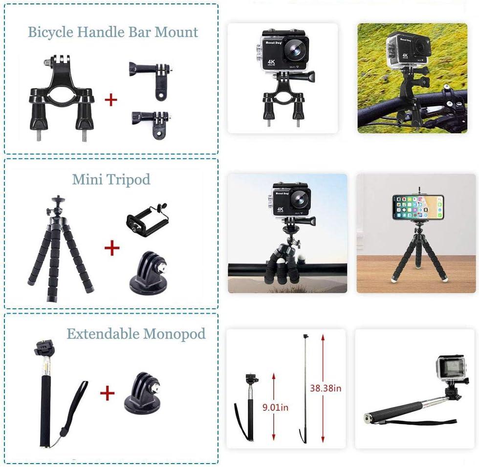 Action Camera Accessories Kit for GoPro Hero 8//Hero 7 Black//Hero 6 5 Mojosketch Accessory Bundle Set for AKASO EK5000 EK7000 4K WiFi Apeman DJI OSMO Action SJ6000 DBPOWER AKASO VicTsing Rollei Lightdo