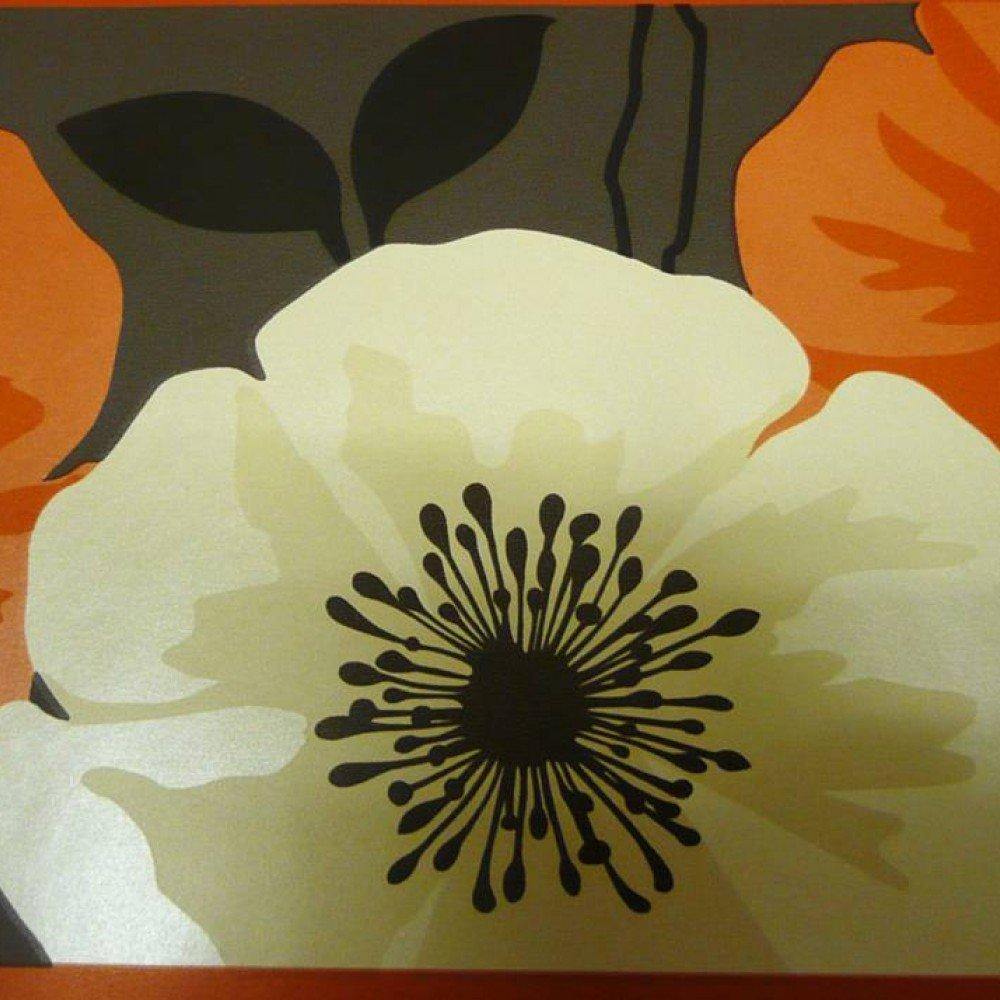 Orange Poppy Wallpaper Border ✓ Labzada Wallpaper
