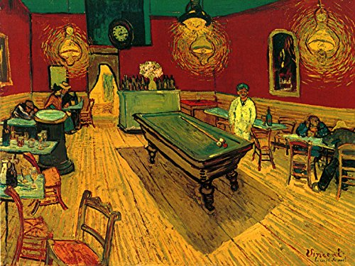 "Billiard Pool Table Game Bar Restaurant by Painter Vincent Van Gogh Vintage Poster Repro 12"" X 16"" Image Size. We Have Other Sizes Available!"