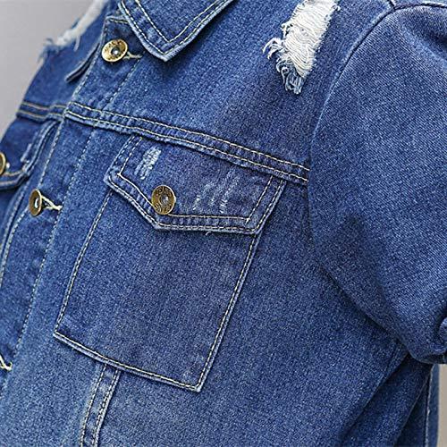 Soprabito Outwear Size Jeans Oversize Trench Plus Xcxka Autunno Blu Monopetto Donna Lungo Cappotti Denim Coat Moda 7wwRx6q