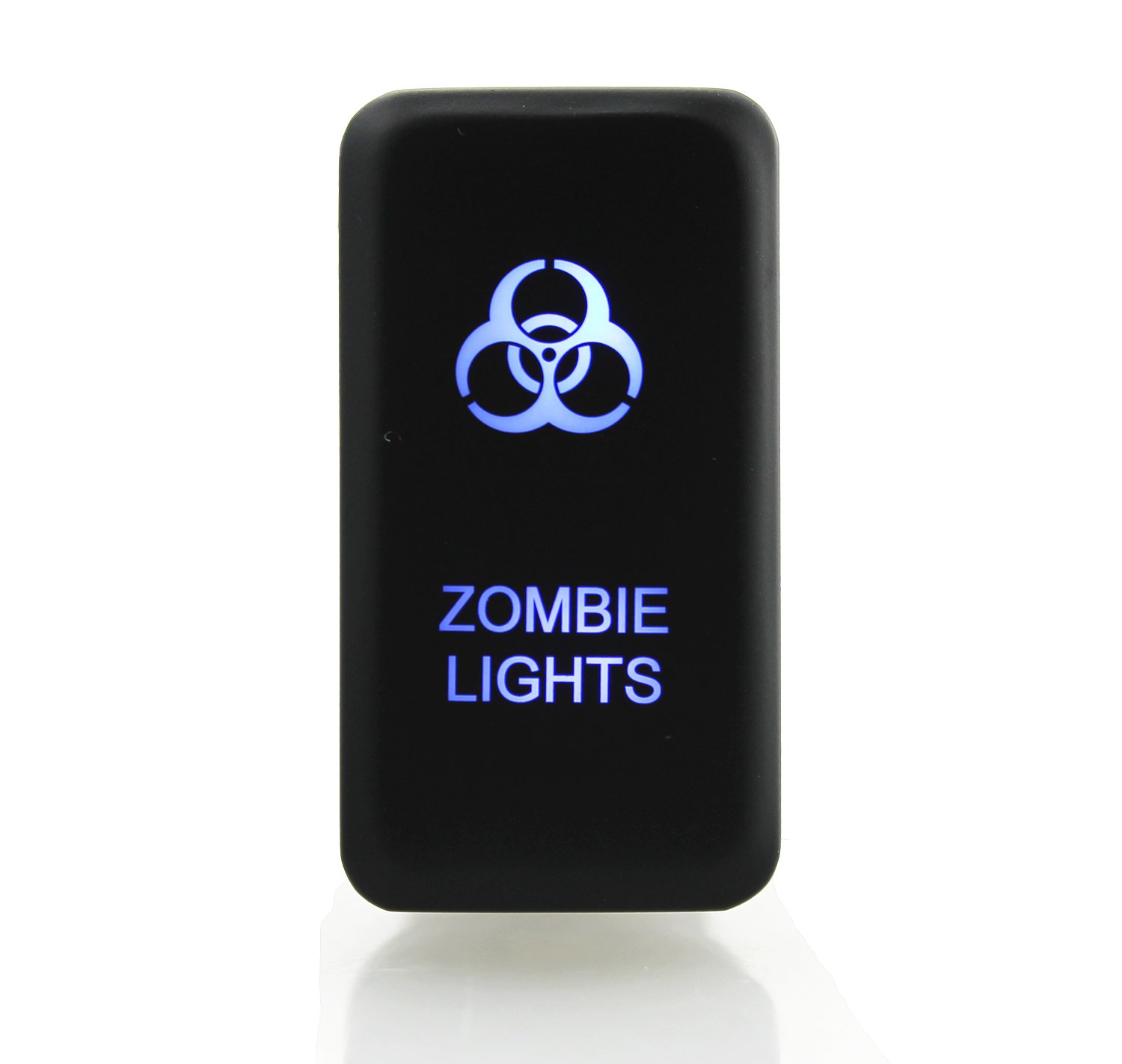 Ambuker LED Push Button on-off Switch with Connector Wire Kit for Toyota Laser Etched ZOMBIE LIGHTS Symbol Blue
