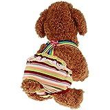 ふく福 夏かわいい ペット犬用 生理 サニタリパンツ かわいい ガーター 生理ズボン 犬猫生理用品 衛生 お出かけ しつけ用品(1個,色ランダム) (M)
