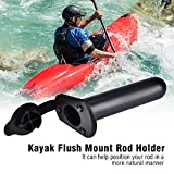 Kayak Boat Rod Holder Plastic Flush Mount with Cap Cover Gasket Fishing Tackle Accessory