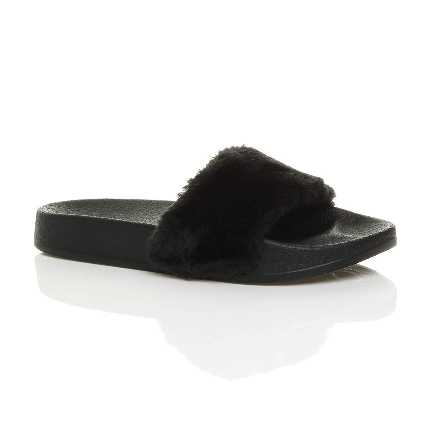 27fb014f41a3 Ajvani Womens Ladies Flat Faux Fur Comfy Slip on flip Flop Sliders Slipper  Sandals Size  Amazon.co.uk  Shoes   Bags
