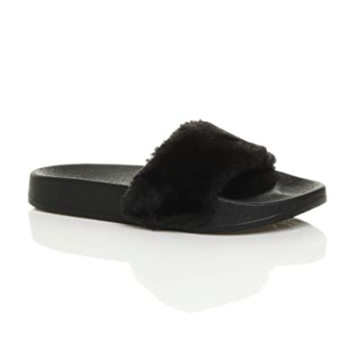 c1853cf311ab6 Ajvani Womens Ladies Flat Fur Comfy Slip on flip Flop Sliders Slipper  Sandals Size 3 36