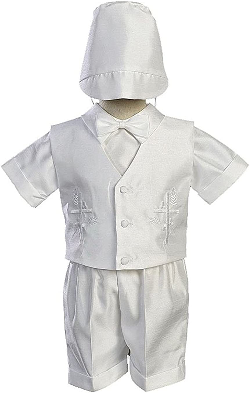 New Baby Boys White Cotton Outfit Shorts Set Christening Baptism Vest Logan