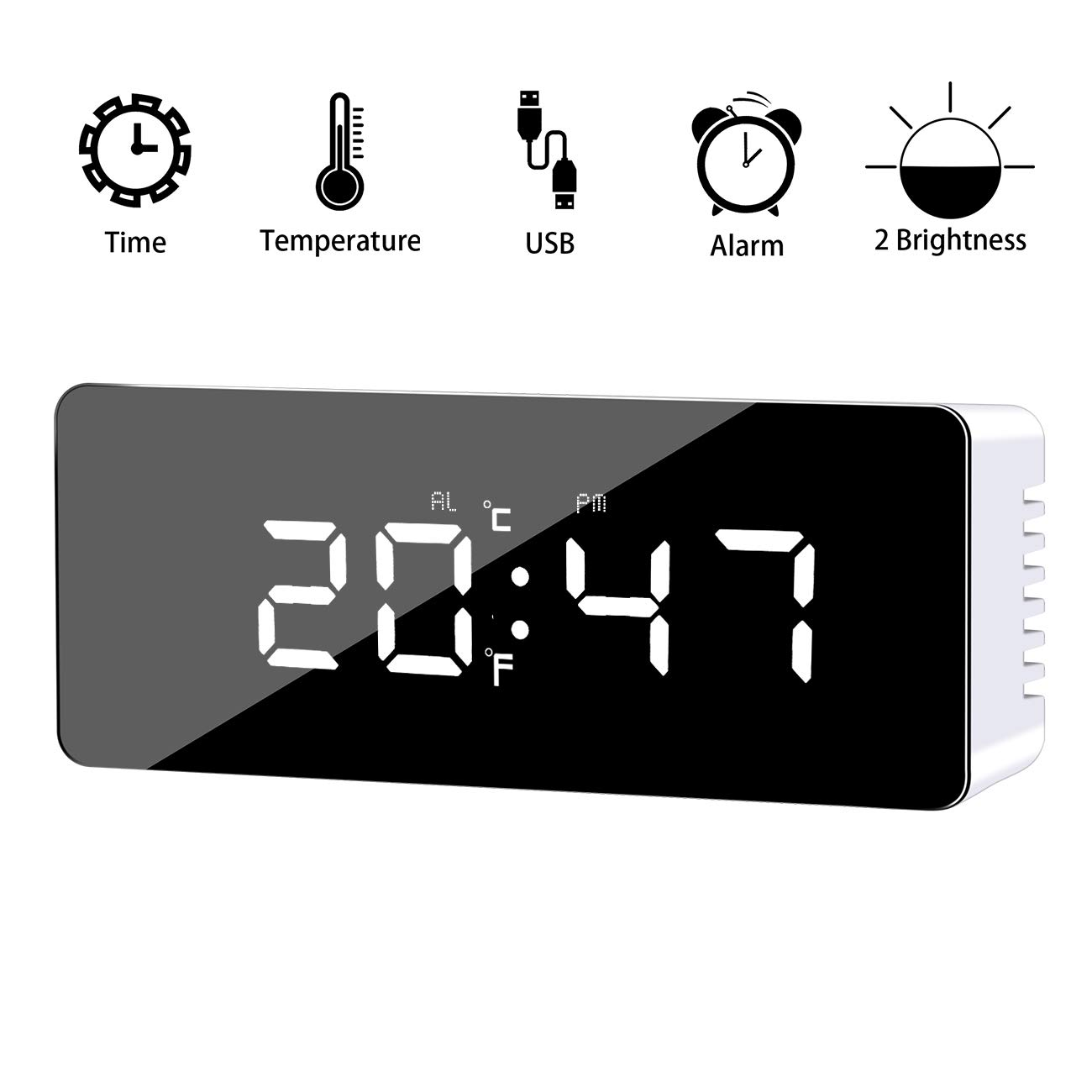 Alarm Clock, Digital Alarm Clock with Large LED Display, 2 Level Brightness, Snooze Function,Mirror Surface,Time and Temperature Mode, Powered by USB Charging Port or Battery