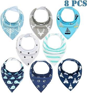 8 baberos bandana para bebé, dos broches ajustables, 100% algodón + forro polar de poliéster supersuave y absorbente, para dentición de babeo de niños pequeños, color multicolor: Amazon.es: Salud y cuidado personal