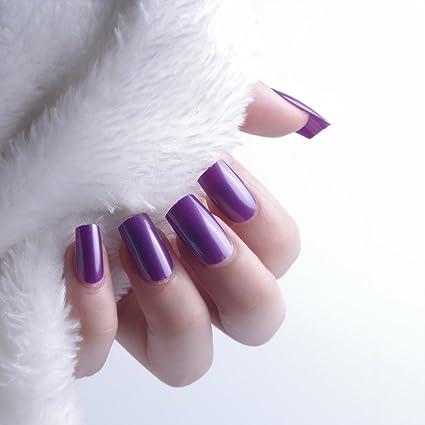 24pcs 12 diferentes tamaño invierno sólido color morado oscuro tamaño mediano longitud cuadrado completo para uñas
