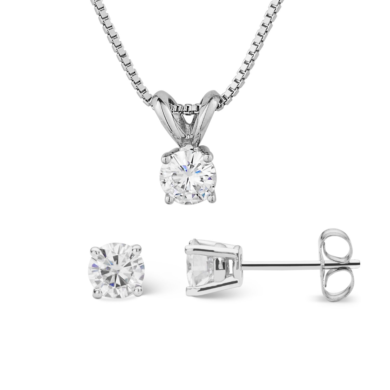Forever Classic Round Cut 4.5mm Moissanite Earrings and Pendant Necklace Set By Charles & Colvard