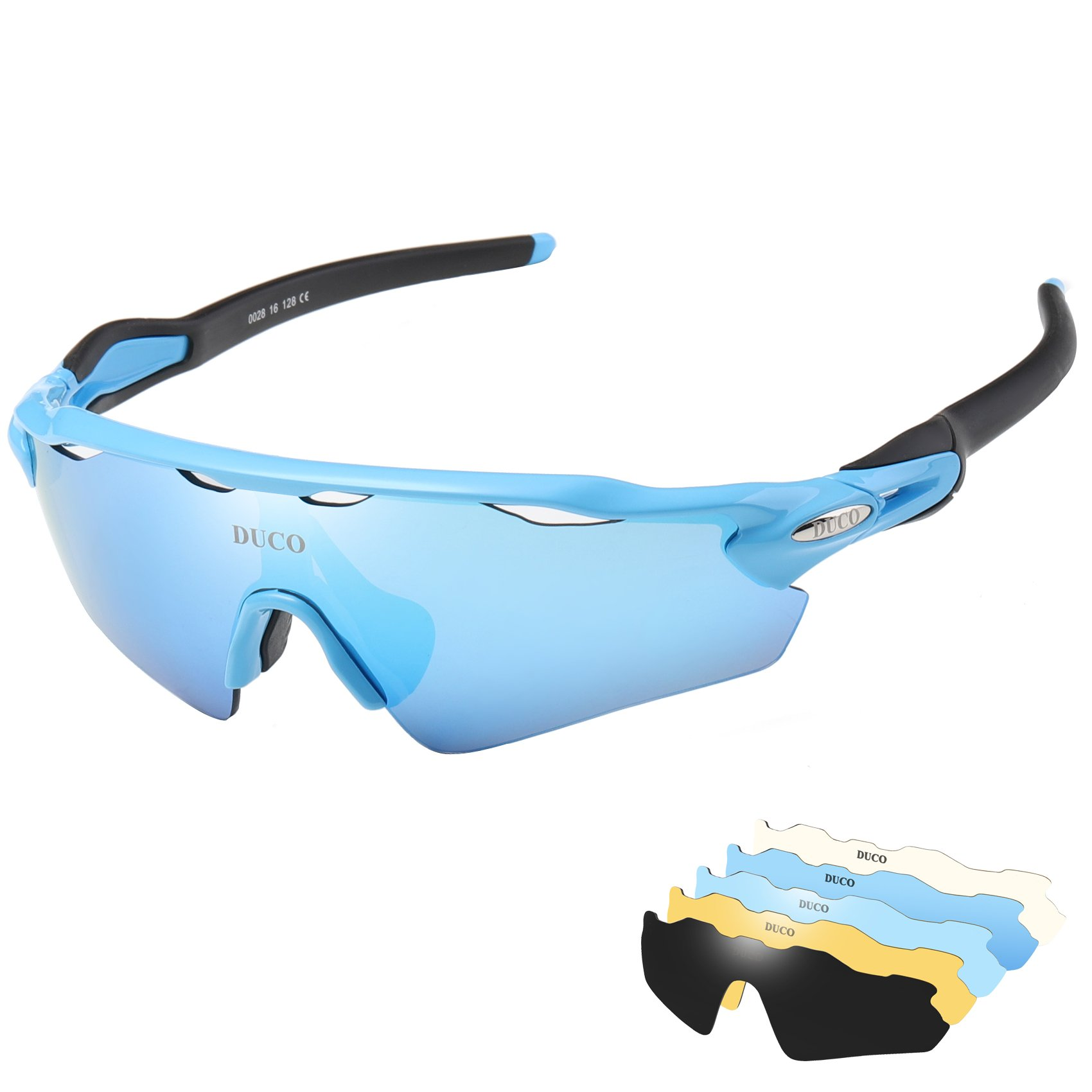 5ad878d8cb0 Polarized Sports Sunglasses Cycling Glasses with 5 Interchangeable Lenses  (Blue) product image