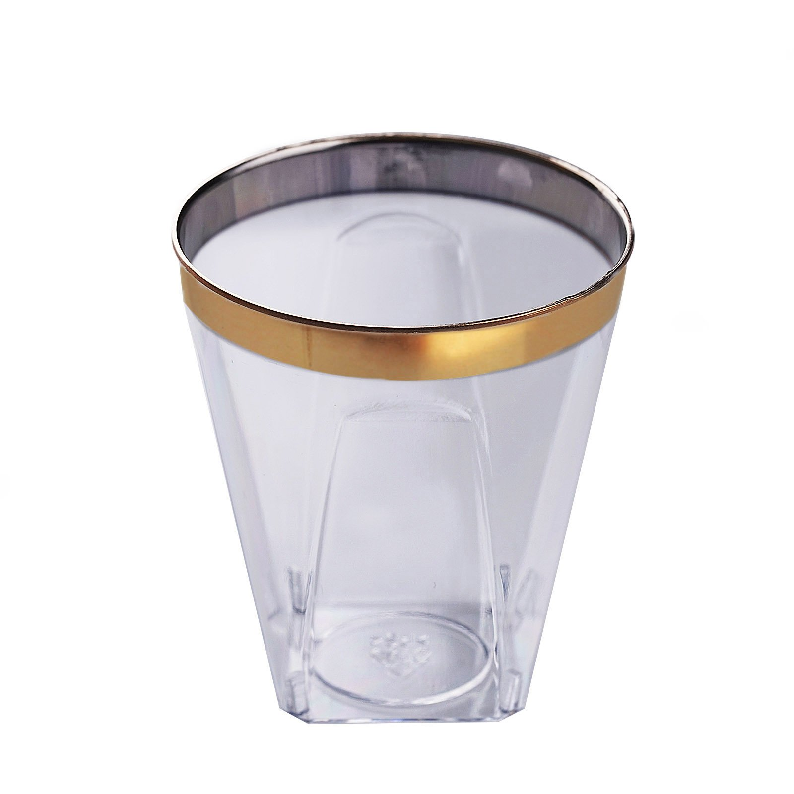 BalsaCircle 72 pcs 2 oz Clear with Gold Trim Plastic Shot Glasses - Disposable Wedding Party Catering Tableware by BalsaCircle