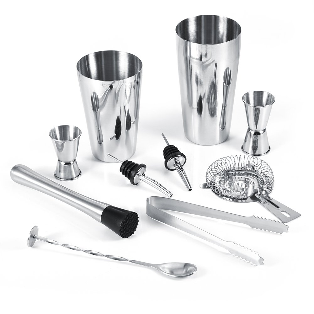 Cocktail Shaker, Asixx 10Pcs Stainless Steel Cocktail Shaker Set with 600ml Shaker, 750ml Shaker, 20/40ml Measuring Cup, 15/30m Measuring Cup, Ice Tong, Mixing Spoon, etc