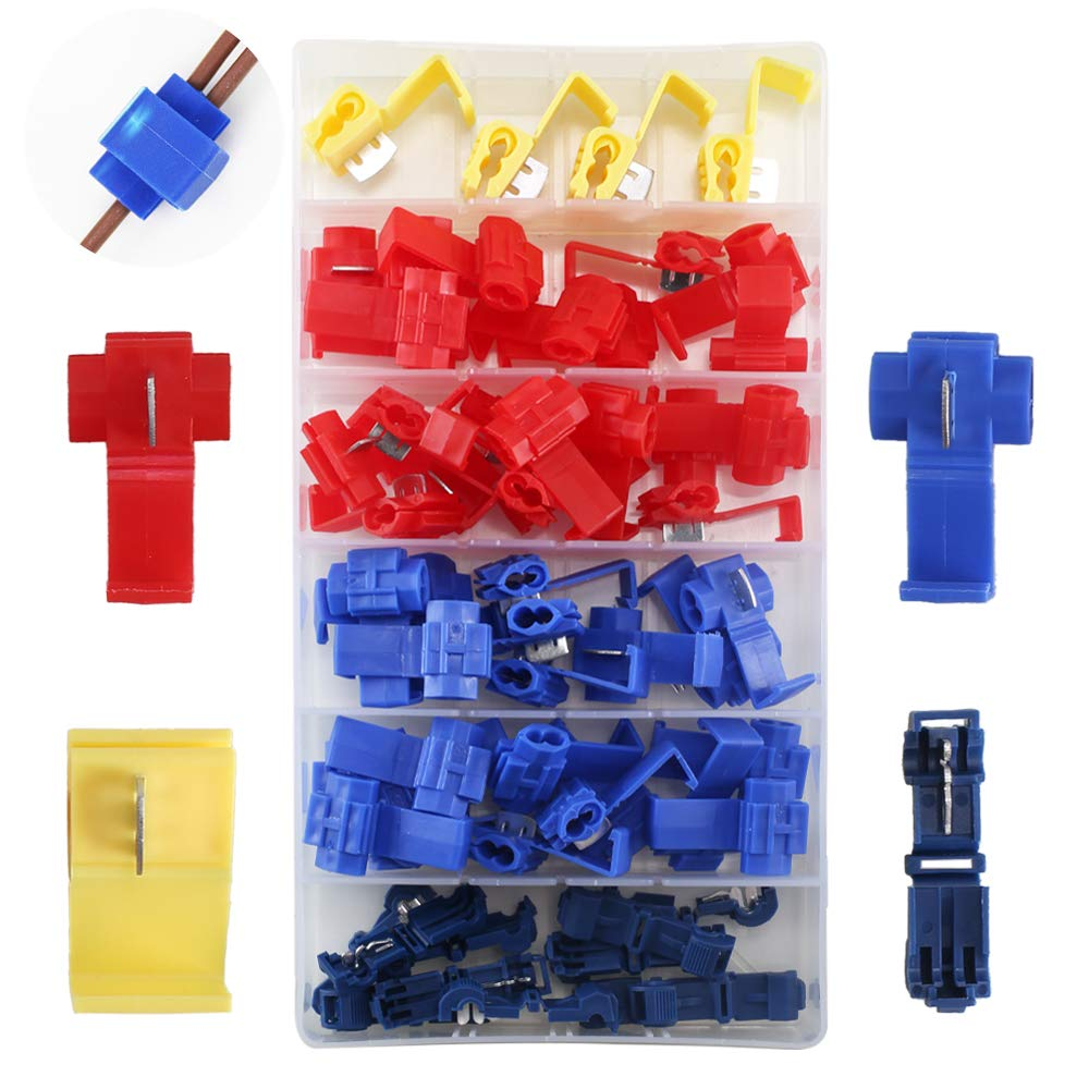 Ho2nle Scotch Lock Quick Splice Wire Cable Connectors Electrical Model Railroads Additional Lockon Continuity Gauge Terminals Crimp Insulated For Car 65pcs 3 Size Red Blue Yellow Diy Tools