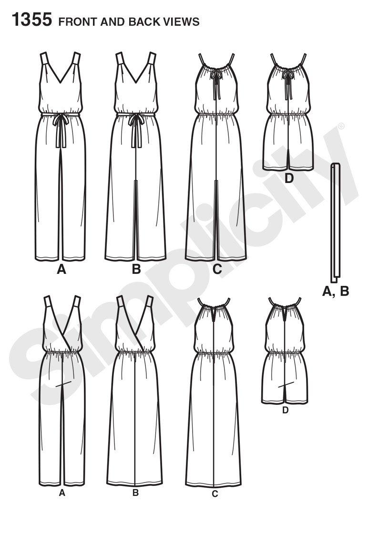Simplicity 1355 Größe A Schnittmuster Maxi Kleid und lange oder ...