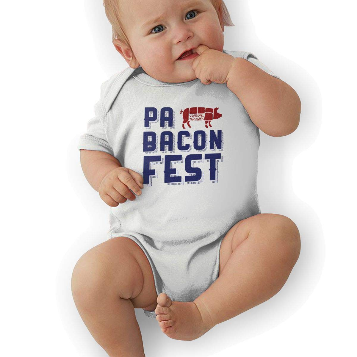 Infant Baby Girls Bodysuit Short-Sleeve Onesie PA Bacon Fest Print Outfit Spring Pajamas