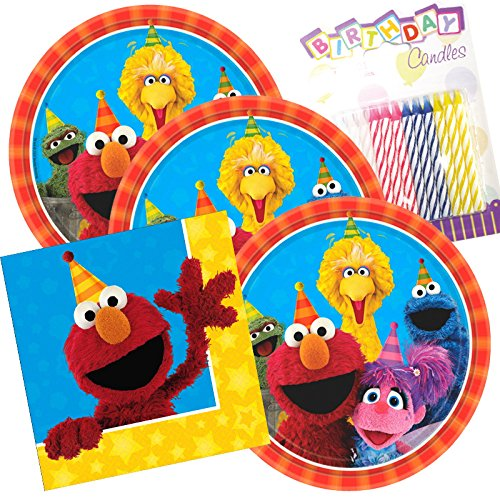 Lobyn Value Pack Sesame Street Party Plates and Napkins Serves 16 With Birthday Candles -
