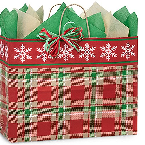 Christmas Plaid Paper Shopping Bags - Vogue Size - 16x6x12in. (200) by NW