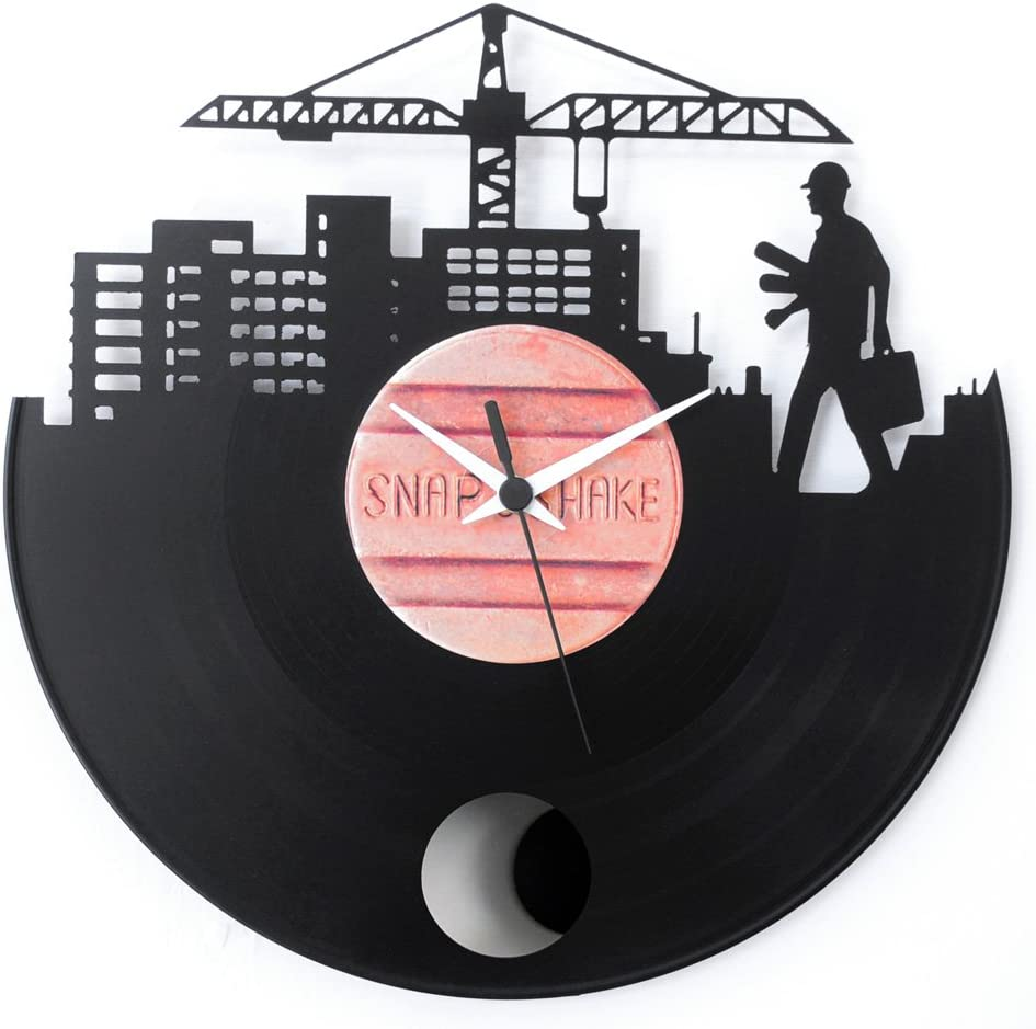 Regalo perfecto para un recién licenciado en arquitectura, reloj péndulo de diseño, vinilo negro, Vinyluse original