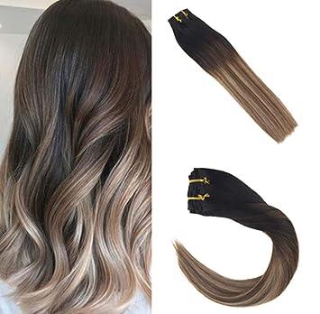Sunny Clip in Hair 16 inch Clip in Balayage Hair Extensions Human Hair Clip  in Hair Extensions Black 1B