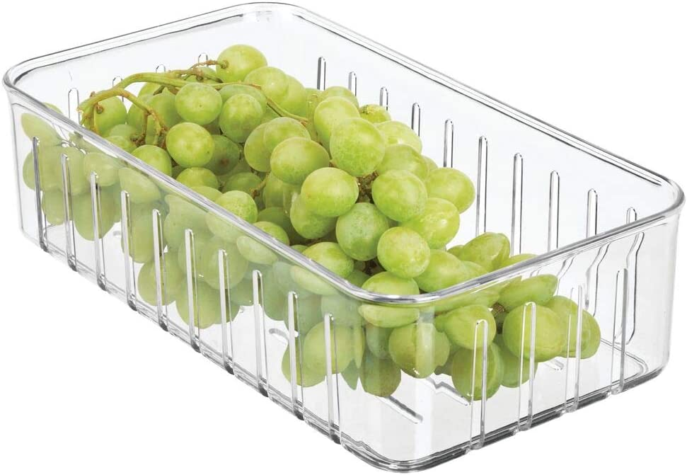 mDesign Plastic Kitchen Refrigerator Produce Storage Organizer Bin with Open Vents for Air Circulation - Food Container for Fruit, Vegetables, Lettuce, Cheese, Fresh Herbs, Snacks - Small - Clear