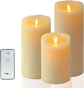 Brightown Flameless Candles, LED Battery Operated Pillar Real Wax Flickering Candle with Remote and Timer for Birthday Party Christmas Decoration (579'inch)
