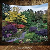 Upscale Tapestry Wall Hanging [ Country Home Decor,Famous Masterpiece of Park Architecture Butchart Gardens Colorful Flowers Leaves Print, Fabric Wall Hanging Decor for Bedroom Living Room Dorm, 93