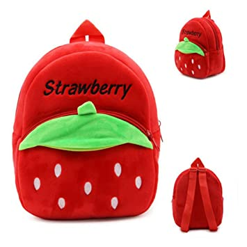 45eae78f3e7c Amazon.com   AHZZY Lovely Strawberry Bag for Toddler Girls Backpack Plush  Shoulder Bag Size Small (Red)   Baby