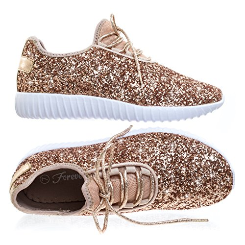 (Forever Link Womens Closed Round Toe Sparkling Glitter Lace Up Fitness Trainer Gym Fashion Sneakers 8 Rose Gold)