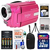 Vivitar DVR-508 HD Digital Video Camera Camcorder (Pink) with 32GB Card + Batteries & Charger + Case + Tripod + Kit