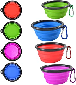 EWYO Collapsible Dog Bowl, 4 Pack Foldable Dog Travel Bowl,Pet Pop-up Food Water Feeder Foldable Bowls with Carabiner Clip