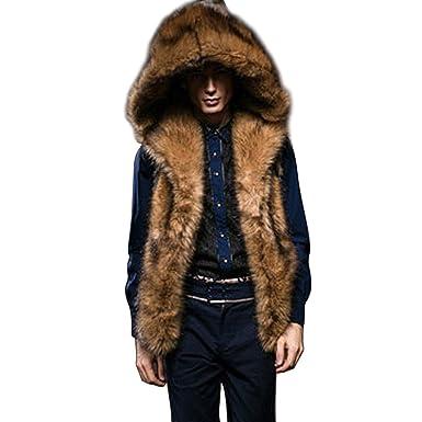 4a96ee6c735c Lannister Fashion Fur Vest Men Fur Vest Fur Vest Faux Fur Warm Sleeveless  Waistcoats Fur Jacket Winter Jacket with Fur Collar  Amazon.co.uk  Clothing