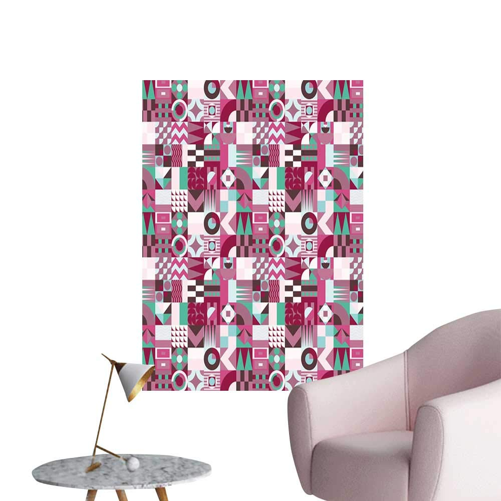 Mid Century Canvas Wall Art Rich Collection of Motifs from Fifties Groovy Unusual Forms Checkered Design Removable Kitchen Multicolor W20 x H28