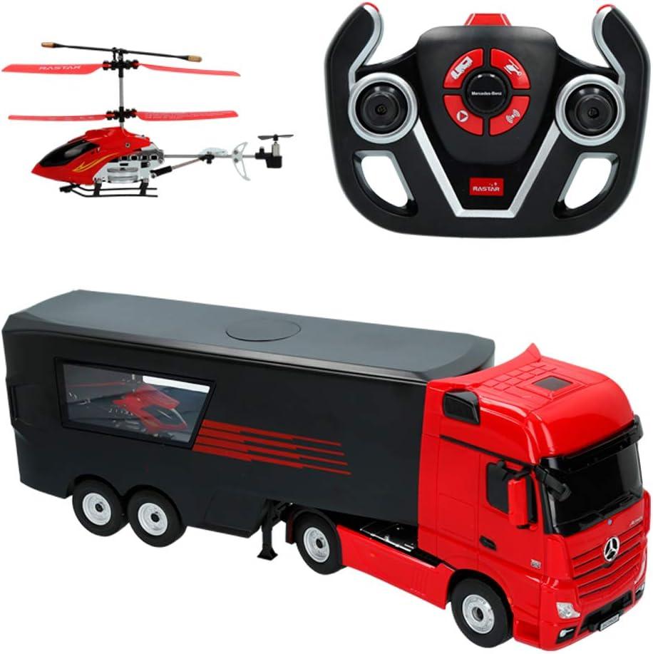 Rastar - Camión radiocontrol Mercedes Benz con helicóptero, Escala 1:26 (85337)
