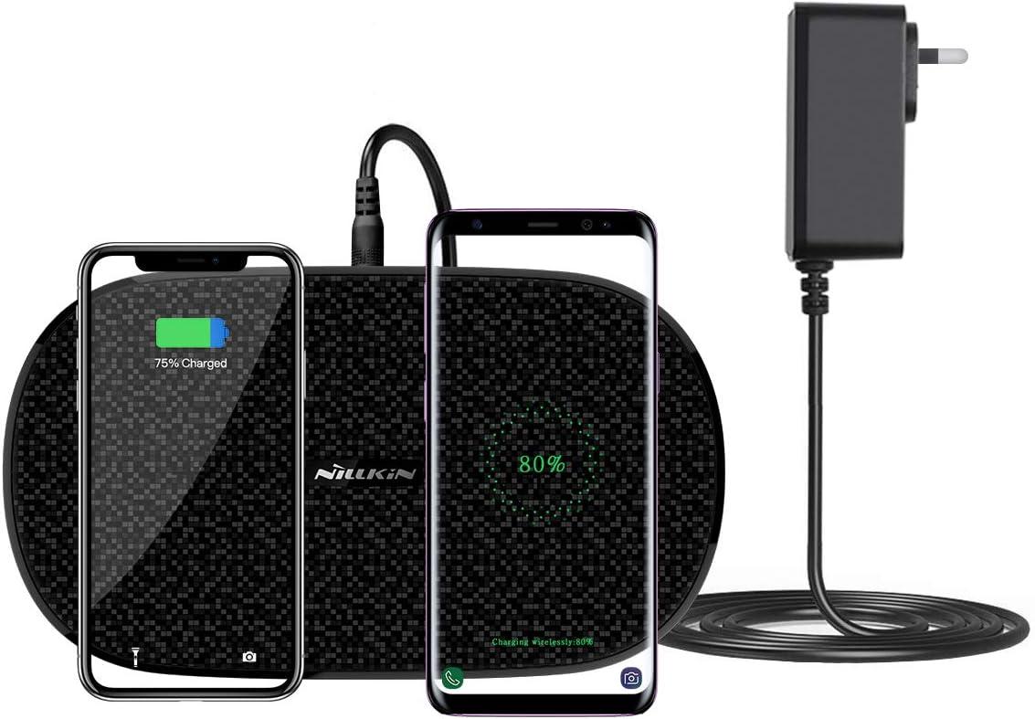 NILLKIN Cargador inalámbrico Dual,Carga inalámbrica Qi Fast, 7.5W para iPhone 11/11 Pro/11 Pro MAX/XS/XS MAX/XR/X,10W para Galaxy S10/S9/Note 10,estándar para Huawei P30 Pro(Incluye Adaptador de CA)