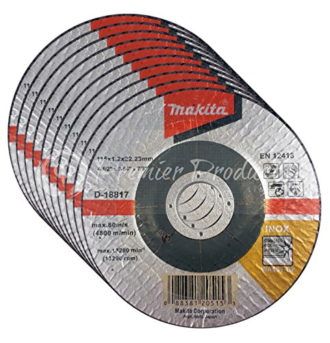 Makita 10 Pack - 4 1 2 Cutting Wheels For Grinders - Flush Cutting For Stainless Steel/INOX - 4-1/2