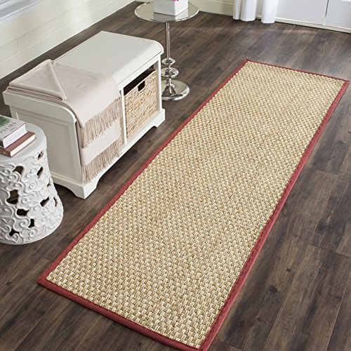 Safavieh Natural Fiber Collection NF114D Basketweave Natural and  Red Seagrass Runner (2'6