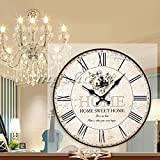 Fashion Large Wooden Wall Clock Vintage Flower Rustic Shabby Home Decoration Art