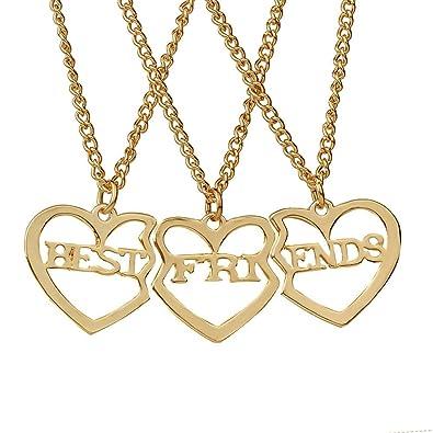 7e207c951f54 Elegant Rose 3 piezas Best Friends Forever BFF plata corazón clave Colgante  Collar Conjunto Amistad accesorios