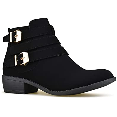 7c45a98e6 Premier Standard - Women's Strappy Buckle Closed Toe Ankle Booties - Low  Heel Side Zipper Casual