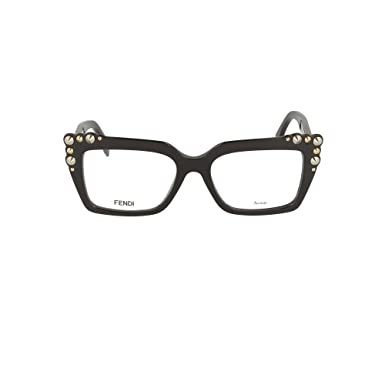a266f6c761 Amazon.com  Fendi FF 0262 807 Black Plastic Square Eyeglasses 51mm ...