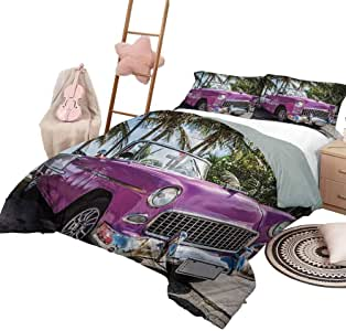 DayDayFun 3 Piece Bedding Sets Cars Bedspread Bed Cover for All Season Classic Colored Cabriolet Car Parked on The Beach in Cuba Seaside Exotic Trees Print King Size Violet Green